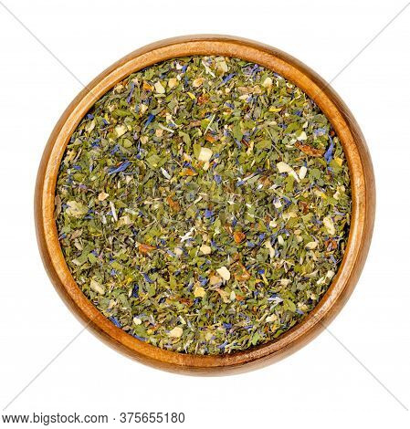 Tabouleh Spice Mix In Wooden Bowl, Also Known As Tabouli Or Taboulah To Spice A Levantine Bulgur Sal