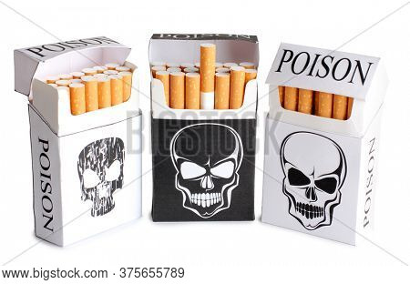 Pack of cigarettes with an image of a skull. Image on dangers of smoking