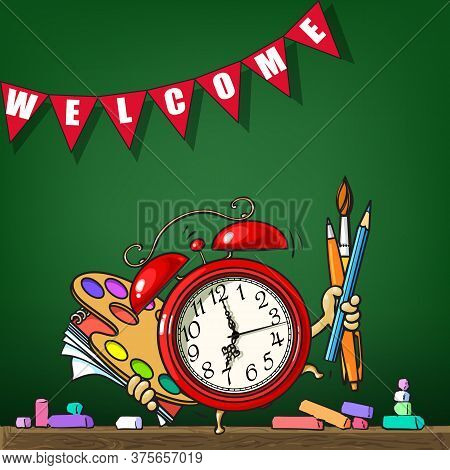 Cartoon Alarm Clock With School Supplies On Schoolboard Background. Sketch Style Hand Drawn Vector I