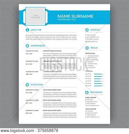 Cv / Resume Template - Elegant Stylish Vector Design For Job Applications. Curriculum Vitae.