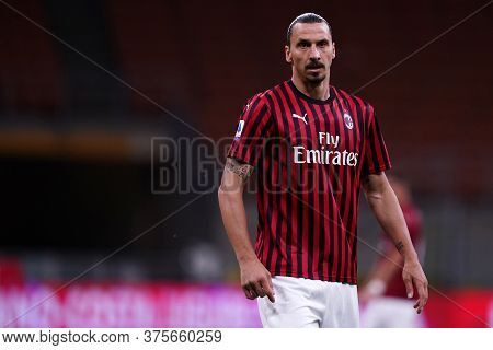Milano (italy) - 07th July 2020. Italian Serie A. Zlatan Ibrahimovic  Of Ac Milan In Action   During