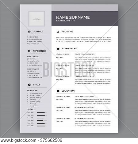 Personal Cv / Resume Templates - Flat Stylish Resume Vector Design For Job Applications. Curriculum