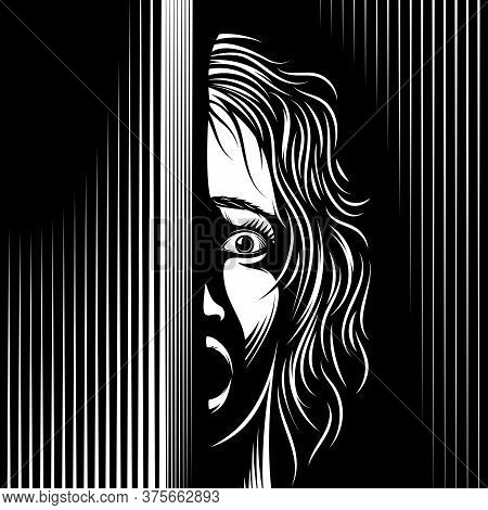 Scared Woman Looks From The Dark. Eyes, Mouth Are Open With Fear. Domestic Violence Against Women, V