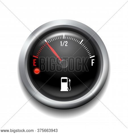Fuel Gauge. Round White Gauge With Chrome Frame.
