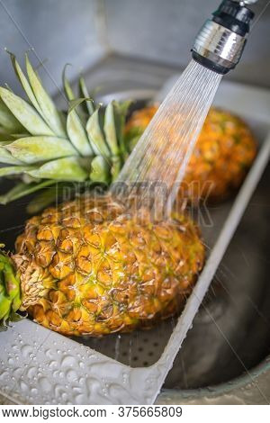 Two Ripe And Juicy Pineapples Are Washed Under The Tap In The Sink.