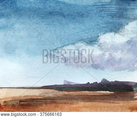 Watercolor Tranquil Landscape Of Deserted Bare Field With Blurry Silhouettes Of Woods In Distance. D