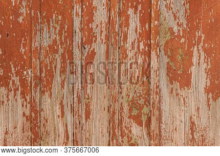 Wooden Background From Old Boards, Brick Red Orange