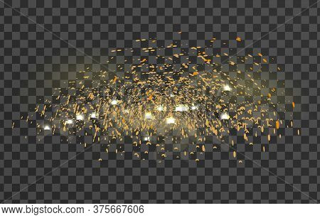 Glowing Sparkles Glare Light Effect On A Transparent Background. Sparks Flickering Lights. Vector Il