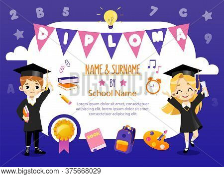 Concept Of Back To School And Awards Ceremony. School Diploma Template With Two Smiling Happy Boy An