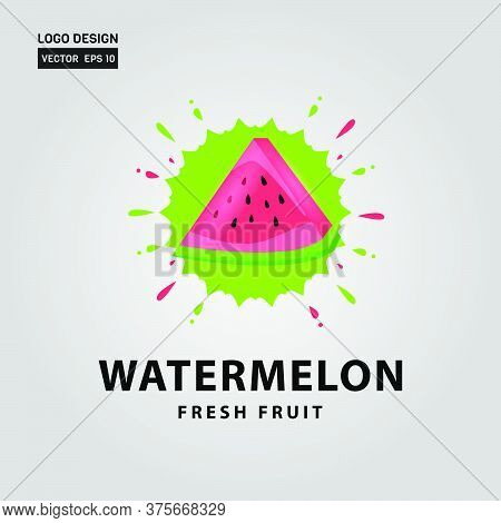 Watermelon Fresh Fruit Logo Design Template For Business Company And Flavor Element
