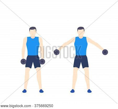 Man Training Shoulders In The Gym, Vector, Eps 10 File, Easy To Edit