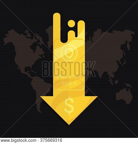 Gold Market Price Crisis Concept. Design By Golden Bar And Falling Down Arrow With Us Dallar Sign. D