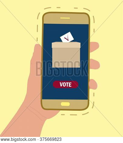 Concept Of Electronic Voting, Internet Ballot, Democracy. . Hand Holds The Phone. On The Screen Is A