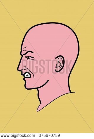 Human Head - Vector Illustration, Linear Design. Profile Man. Emotions Anger, Annoyance, Aggression.