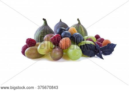 Fruits, Berries Isolated On White Background. Fruits And Berries With Copy Space For Text. Raspberri