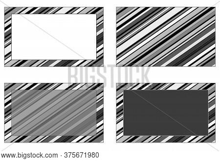 Set Of Gray Monochrome Striped Backgrounds With White, Dark Gray And Transparent Gray Rectangle For