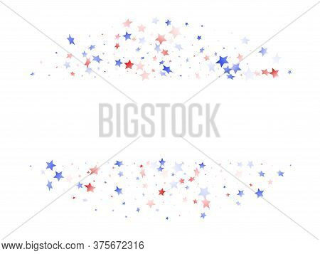 American Memorial Day Stars Background. Confetti In Us Flag Colors For Independence Day. Solemn Red