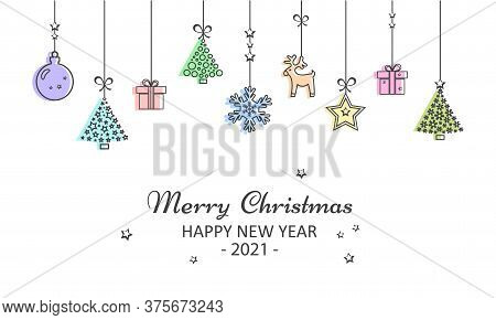 2021 New Year And Merry Christmas Greeting Card. Colorful Christmas Toys Hanging. Vector Illustratio