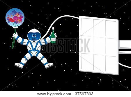 Spaceman With Flowers Card