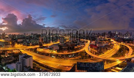Bangkok Panorama View City Skyline And Expressway In Downtown District In Morning