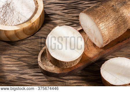 Raw Cassava Starch - Manihot Esculenta. Text Space