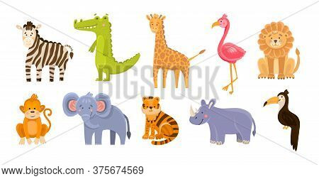 Vector Set Of Jungle Animals On Bright Isolated. Cute Cartoon Animals And Birds In A Flat Style For