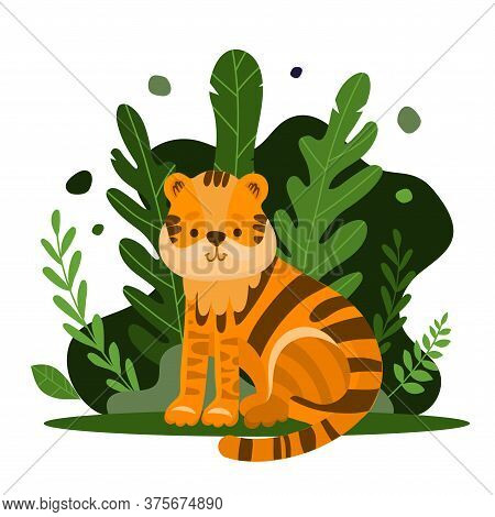 Cute Tiger Cartoon Vector Illustration On A Jungle Background. Wild Tiger In Exotic Tropical Leaves.