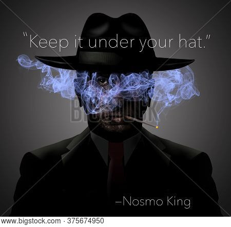 This No Smoking Image Shows A Dark Ominous Man In Shadows With Light Blue Cigarette Smoke Over His F