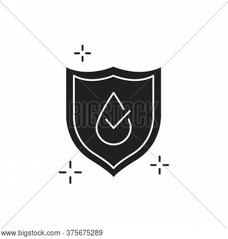 Waterproof Black Glyph Icon. Water Repellent Coating Concept. Impermeable Protection, Safety, Barrie