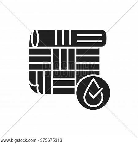 Waterproof Linoleum Black Glyph Icon. Water Repellent Material Concept. Impermeable Floor Covering S