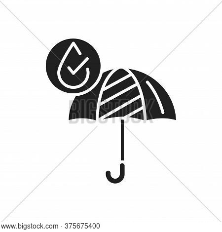 Waterproof Open Umbrella Black Glyph Icon. Water Repellent Fashion Accessory Concept. Impermeable To