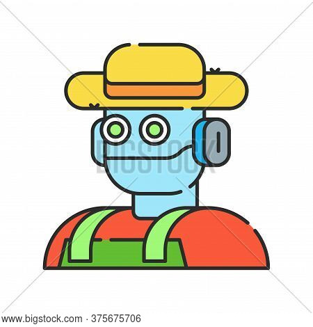 Futuristic Robot Farmer To Increase Efficiency. Agricultural Iot. Smart Farming Color Linear Icon. S