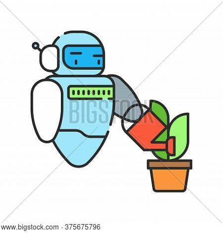 Futuristic Robot Automation To Increase Efficiency Color Line Icon. Checking Plants. Agricultural Io