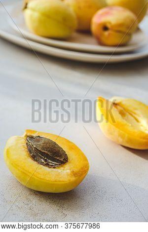 Lobule Fresh Ripe Peaches On Table Close Up