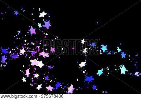 Starry Confetti. Shooting Star Background. Random Stars Shine On A Black Background. Dark Sky In Shi