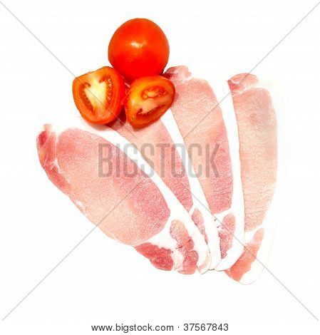 Raw Uncooked Bacon And Tomato Isloated