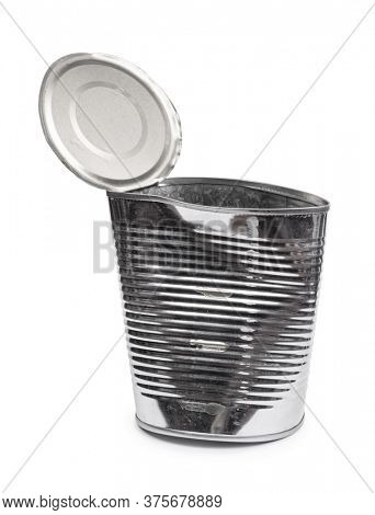 Empty open tin can isolated on white background