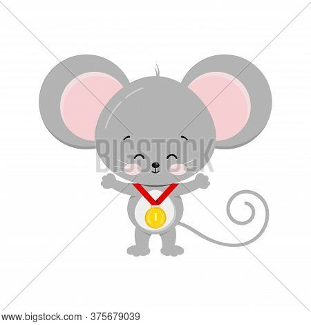 Cute Mouse With Gold Medal Isolated On White Background. Grey Sports Winner Elegant Mouse Icon. Flat