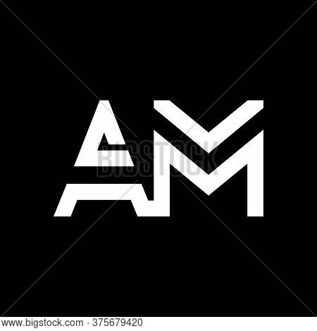 Am Logo Design Business Typography Vector Template. Creative Linked Letter Am Logo Template. Am Font