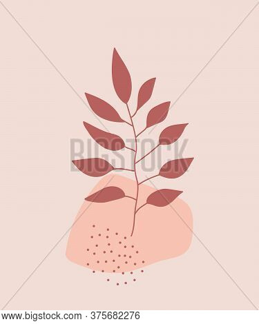 Terracotta Leaves With Abstract Geometric Shapes. Modern Digital Drawing. Fashion Vector Illustratio