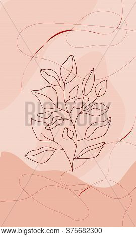 Leaves Line Art With Abstract Geometric Background. Modern Digital Drawing. Fashion Vector Illustrat