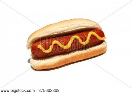 Hot Dog. Hot Dog with mustard. Isolated on white. Room for text. Hot Dog in a bun.