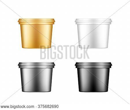 Ice Cream, Yoghurt, Mayo, Paint Or Putty Bucket With Cap Mockups