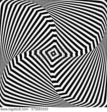 Illusion Of Twisting Rotation Torsion Movement. Lines Texture. Abstract Op Art Design. Vector Illust
