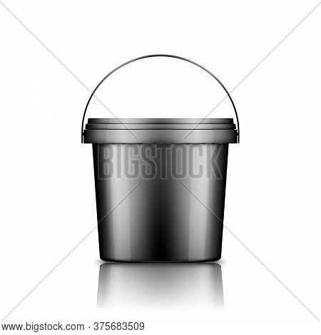 Black Ice Cream, Yoghurt, Mayo, Or Paint Bucket With Handle Mockup Isolated On White Background