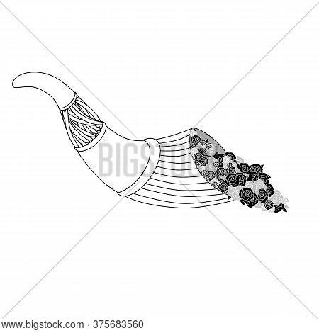 Cornucopia, Vintage Horn Of Plenty, Flowers. Vector Painting