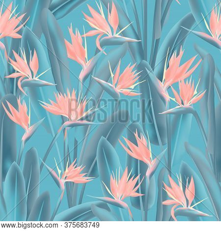 Tropical Crane Flower Vector Seamless Pattern. Jungle Exotic Tropical Plant Fabric Design. South Afr