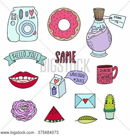 Vector Patch Badges, Pins, Patches In Cartoon 80s-90s Comic Style, Isolated On White Background.