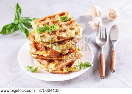 Zucchini Waffle, Zucchini Fritters Cooking On Waffle Maker, Vegetarian Zucchini Waffles With Basil A