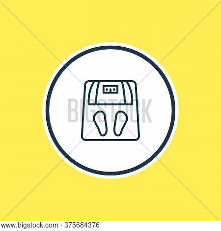 Vector Illustration Of Scales Icon Line. Beautiful Toilet Element Also Can Be Used As Weigh Icon Ele